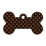 SCALES3 BLACK MARBLE & RUSTED METAL (R) Dog Tag Bone (One Side) Front