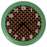 SCALES3 BLACK MARBLE & RUSTED METAL (R) Color Wall Clocks Front