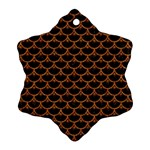 SCALES3 BLACK MARBLE & RUSTED METAL (R) Snowflake Ornament (Two Sides) Back