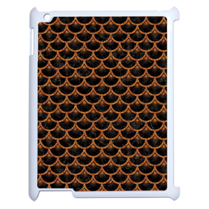 SCALES3 BLACK MARBLE & RUSTED METAL (R) Apple iPad 2 Case (White)