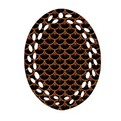 Scales3 Black Marble & Rusted Metal (r) Ornament (oval Filigree)