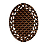 SCALES3 BLACK MARBLE & RUSTED METAL (R) Oval Filigree Ornament (Two Sides) Front