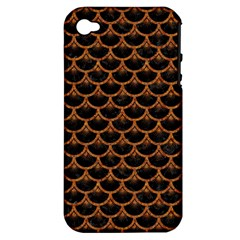 Scales3 Black Marble & Rusted Metal (r) Apple Iphone 4/4s Hardshell Case (pc+silicone)