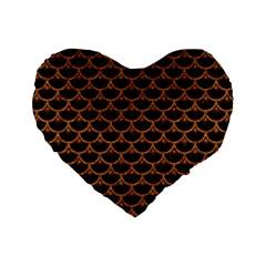 Scales3 Black Marble & Rusted Metal (r) Standard 16  Premium Heart Shape Cushions