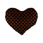 SCALES3 BLACK MARBLE & RUSTED METAL (R) Standard 16  Premium Heart Shape Cushions Front