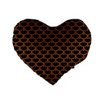 SCALES3 BLACK MARBLE & RUSTED METAL (R) Standard 16  Premium Flano Heart Shape Cushions Front