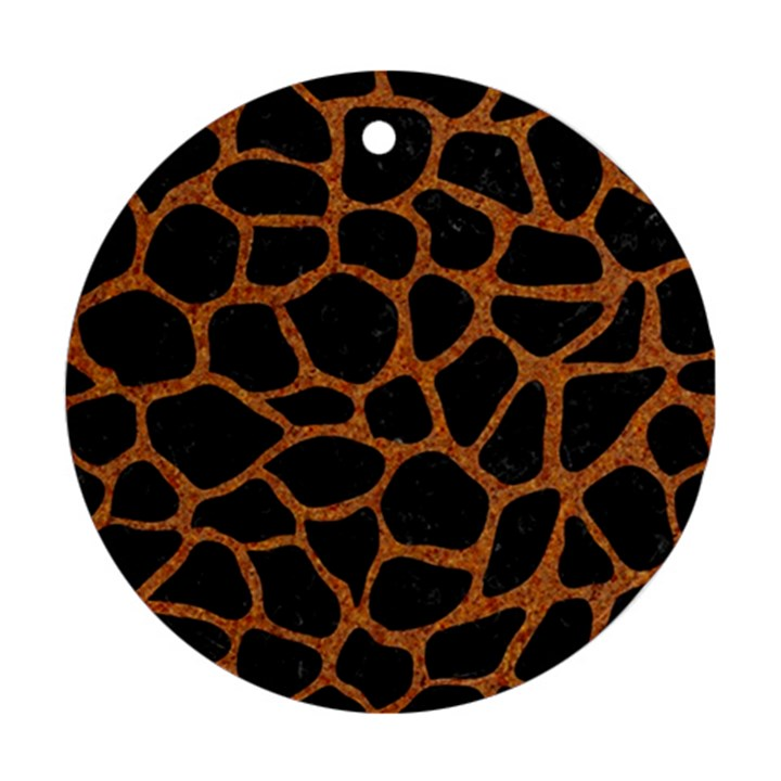 SKIN1 BLACK MARBLE & RUSTED METAL Ornament (Round)