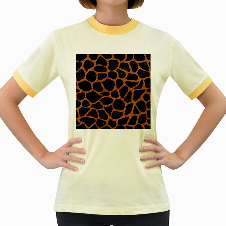 SKIN1 BLACK MARBLE & RUSTED METAL Women s Fitted Ringer T-Shirts