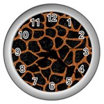 SKIN1 BLACK MARBLE & RUSTED METAL Wall Clocks (Silver)  Front