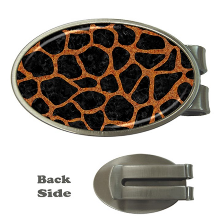 SKIN1 BLACK MARBLE & RUSTED METAL Money Clips (Oval)