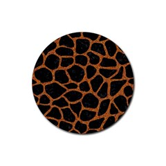 Skin1 Black Marble & Rusted Metal Rubber Coaster (round)