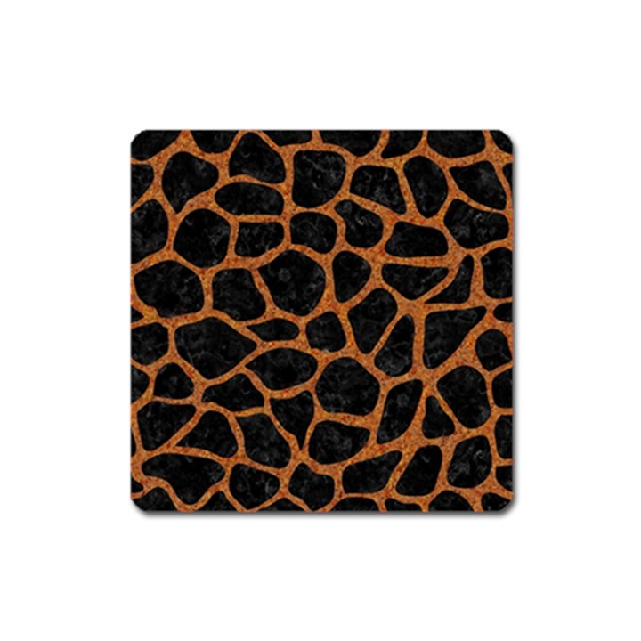 SKIN1 BLACK MARBLE & RUSTED METAL Square Magnet