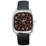 SKIN1 BLACK MARBLE & RUSTED METAL Square Metal Watch Front