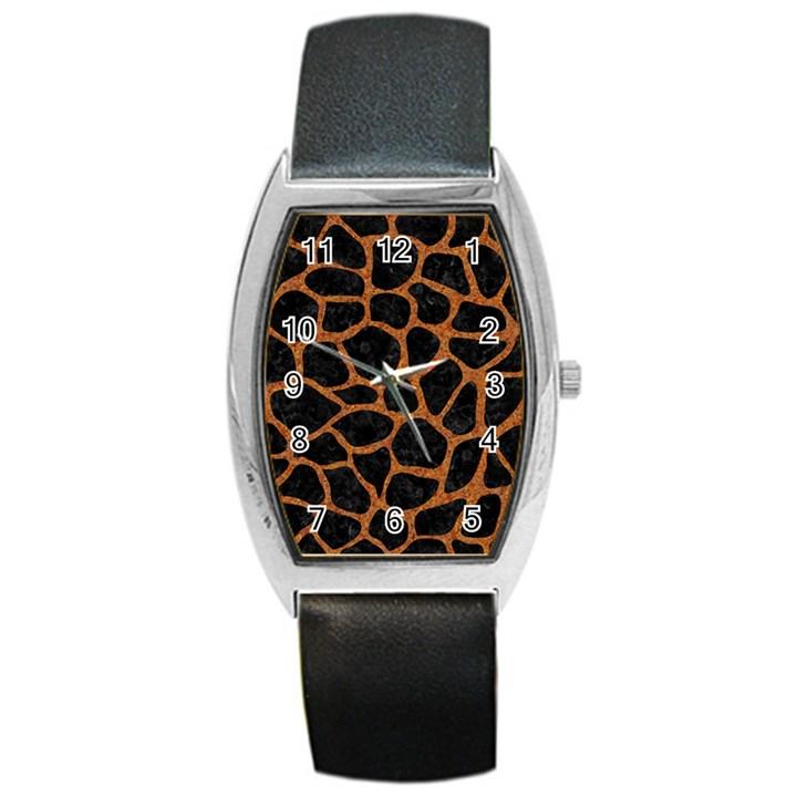 SKIN1 BLACK MARBLE & RUSTED METAL Barrel Style Metal Watch