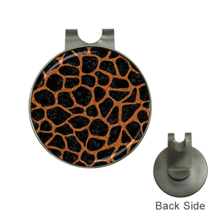SKIN1 BLACK MARBLE & RUSTED METAL Hat Clips with Golf Markers