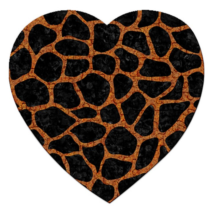 SKIN1 BLACK MARBLE & RUSTED METAL Jigsaw Puzzle (Heart)