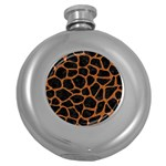SKIN1 BLACK MARBLE & RUSTED METAL Round Hip Flask (5 oz) Front