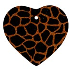 SKIN1 BLACK MARBLE & RUSTED METAL Heart Ornament (Two Sides) Front