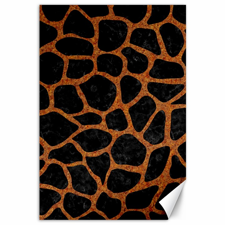 SKIN1 BLACK MARBLE & RUSTED METAL Canvas 12  x 18