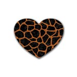 SKIN1 BLACK MARBLE & RUSTED METAL Rubber Coaster (Heart)  Front