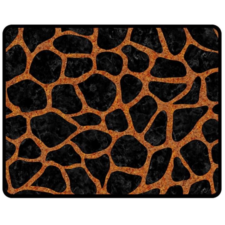 SKIN1 BLACK MARBLE & RUSTED METAL Fleece Blanket (Medium)