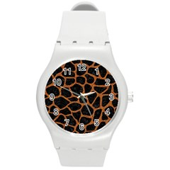 Skin1 Black Marble & Rusted Metal Round Plastic Sport Watch (m)