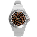 SKIN1 BLACK MARBLE & RUSTED METAL Round Plastic Sport Watch (L) Front