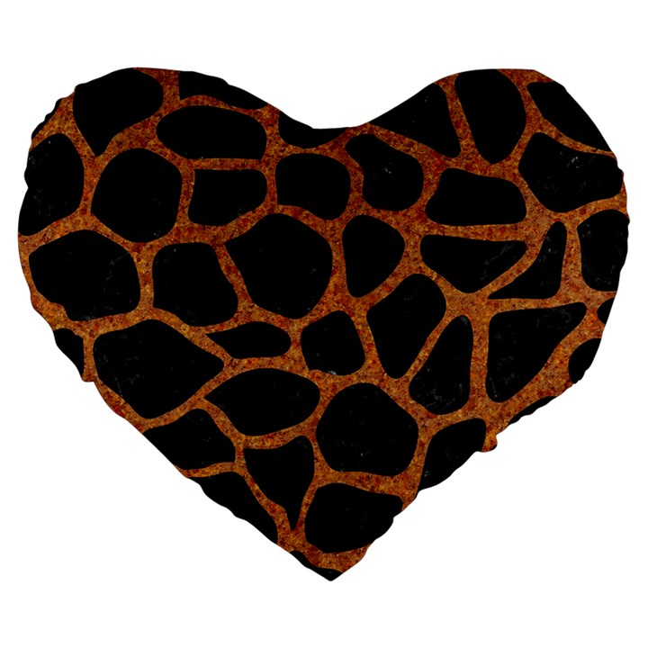 SKIN1 BLACK MARBLE & RUSTED METAL Large 19  Premium Heart Shape Cushions