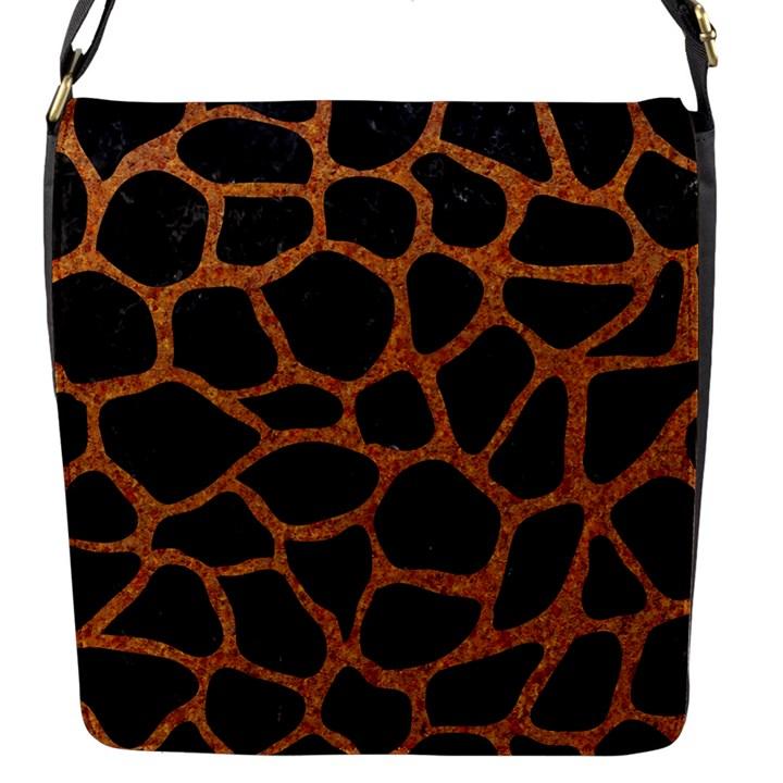 SKIN1 BLACK MARBLE & RUSTED METAL Flap Messenger Bag (S)