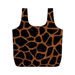 Skin1 Black Marble & Rusted Metal Full Print Recycle Bags (m)