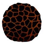 SKIN1 BLACK MARBLE & RUSTED METAL Large 18  Premium Flano Round Cushions Front