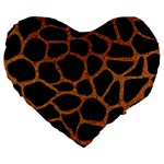 SKIN1 BLACK MARBLE & RUSTED METAL Large 19  Premium Flano Heart Shape Cushions Front
