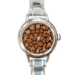 SKIN1 BLACK MARBLE & RUSTED METAL (R) Round Italian Charm Watch Front