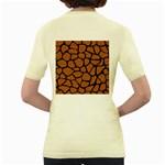 SKIN1 BLACK MARBLE & RUSTED METAL (R) Women s Yellow T-Shirt Back