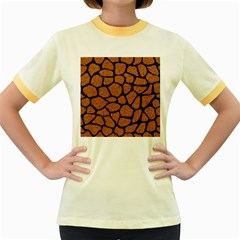 Skin1 Black Marble & Rusted Metal (r) Women s Fitted Ringer T Shirts