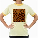 SKIN1 BLACK MARBLE & RUSTED METAL (R) Women s Fitted Ringer T-Shirts Front