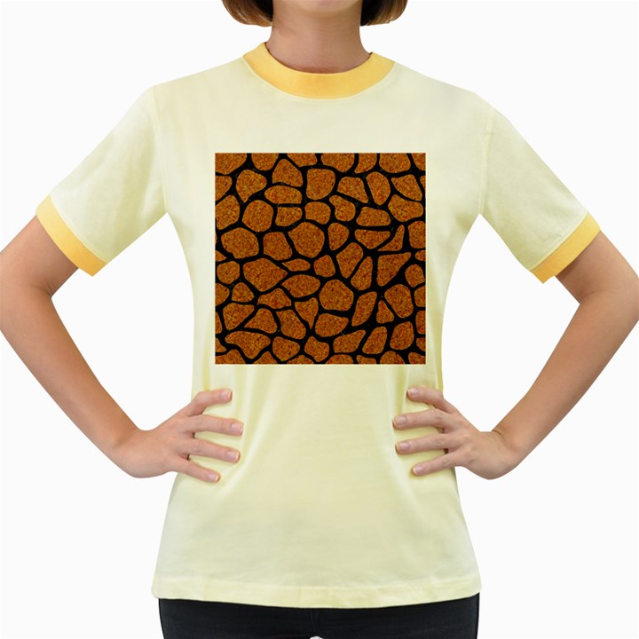 SKIN1 BLACK MARBLE & RUSTED METAL (R) Women s Fitted Ringer T-Shirts