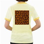 SKIN1 BLACK MARBLE & RUSTED METAL (R) Women s Fitted Ringer T-Shirts Back