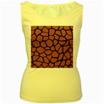 SKIN1 BLACK MARBLE & RUSTED METAL (R) Women s Yellow Tank Top Front
