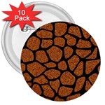 SKIN1 BLACK MARBLE & RUSTED METAL (R) 3  Buttons (10 pack)  Front