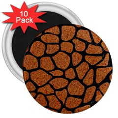 Skin1 Black Marble & Rusted Metal (r) 3  Magnets (10 Pack)