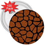 SKIN1 BLACK MARBLE & RUSTED METAL (R) 3  Buttons (100 pack)  Front