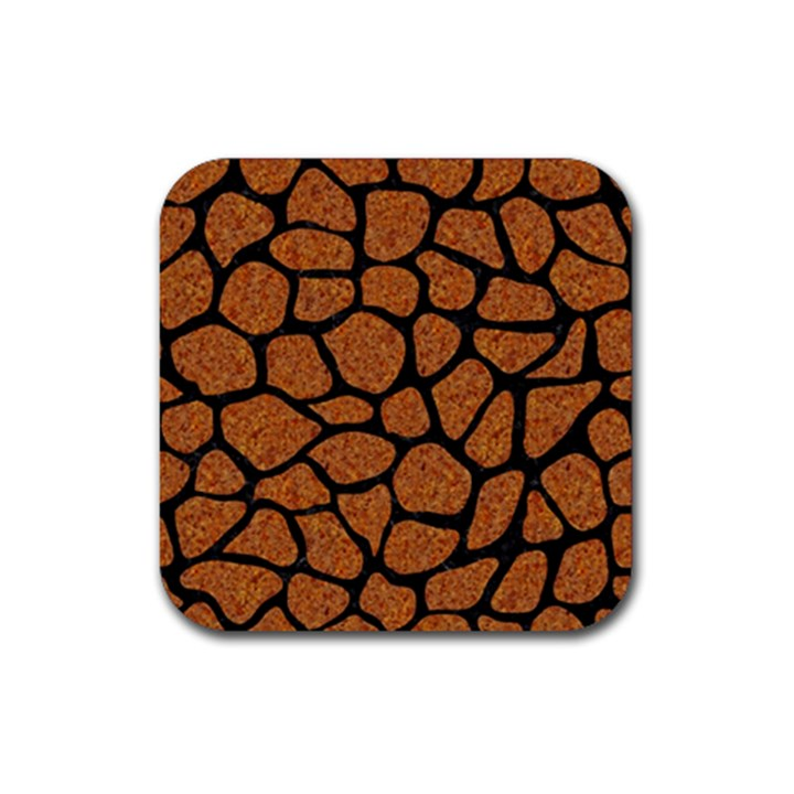 SKIN1 BLACK MARBLE & RUSTED METAL (R) Rubber Square Coaster (4 pack)
