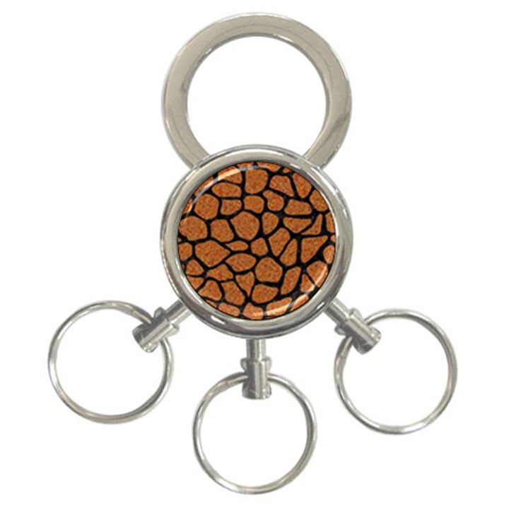 SKIN1 BLACK MARBLE & RUSTED METAL (R) 3-Ring Key Chains