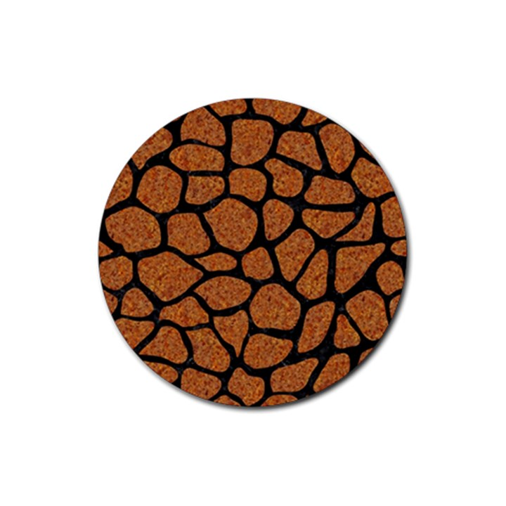 SKIN1 BLACK MARBLE & RUSTED METAL (R) Rubber Round Coaster (4 pack)