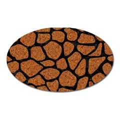 Skin1 Black Marble & Rusted Metal (r) Oval Magnet