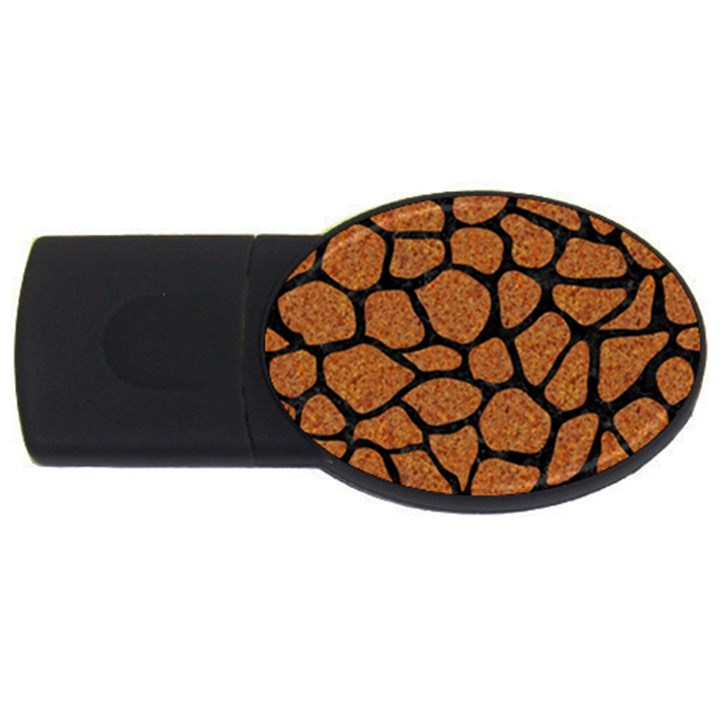 SKIN1 BLACK MARBLE & RUSTED METAL (R) USB Flash Drive Oval (2 GB)