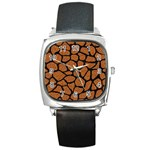 SKIN1 BLACK MARBLE & RUSTED METAL (R) Square Metal Watch Front