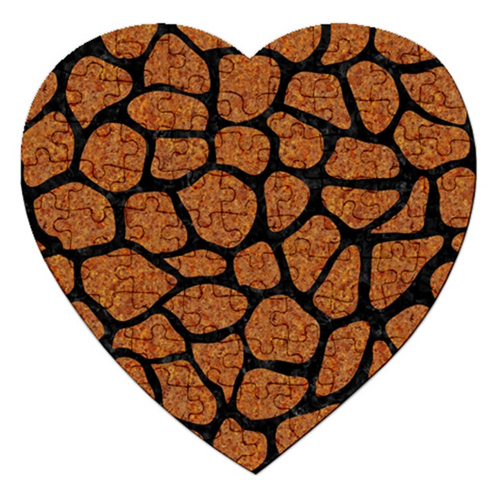SKIN1 BLACK MARBLE & RUSTED METAL (R) Jigsaw Puzzle (Heart)