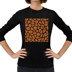 Skin1 Black Marble & Rusted Metal (r) Women s Long Sleeve Dark T Shirts